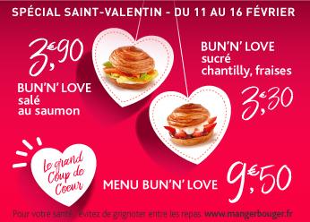 Bun'n love sucré salé (chantilly ou saumon) spélcial saint valentin